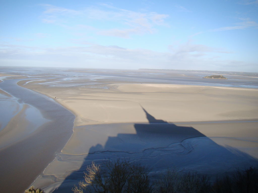 View from the terrace in winter - Tips of Mont St Michel in France