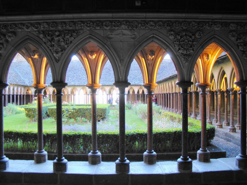 Cloister of the Abbey - Tips of Mont St Michel in France