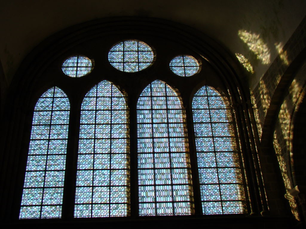 Stained glass at the church - Tips of Mont St Michel in France