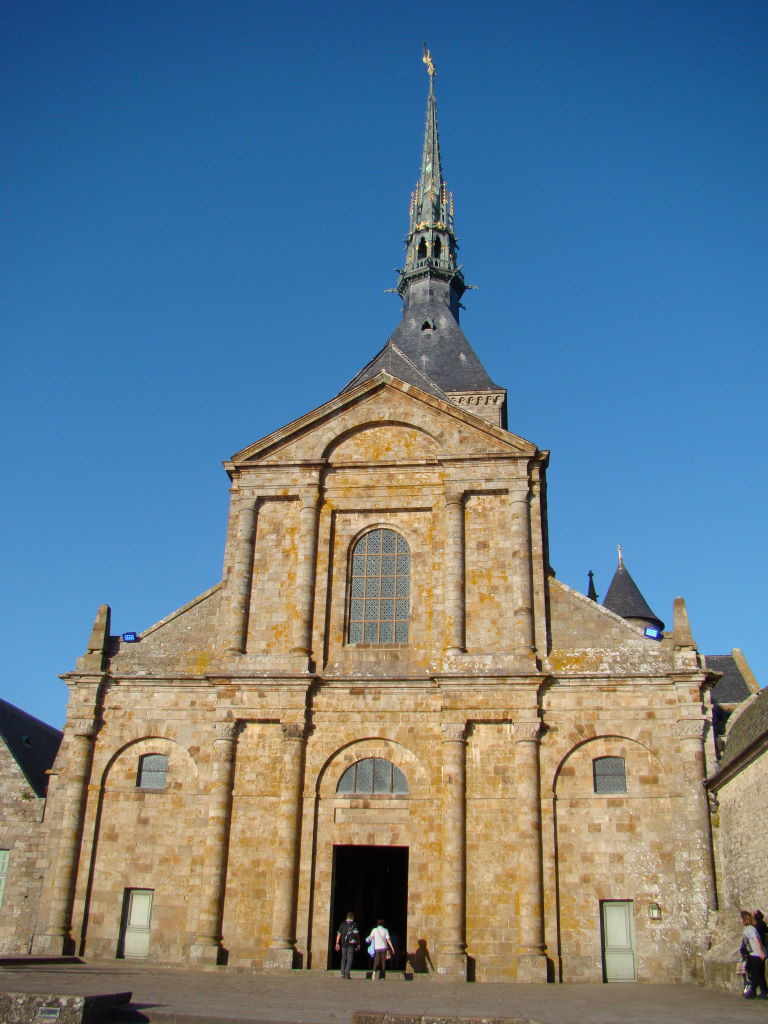 Church at the top - Tips of Mont St Michel in France