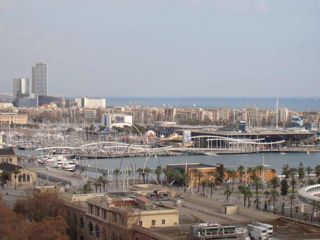 Port Vell seen from the first stop of the cable car at Montjuic - Christmas at Barcelona