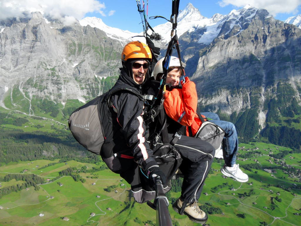 Paraglider Tandem Flight departing First Mountain in Grindelwald
