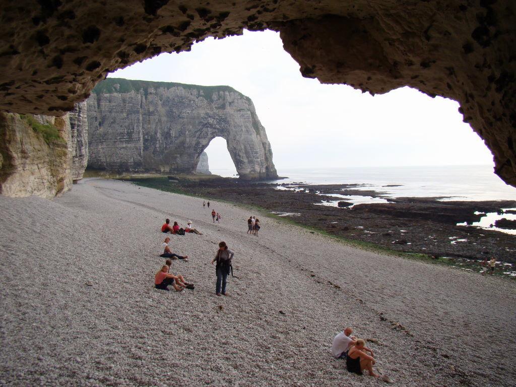 Manneporte, túnel Trou a L'Homme,  Étretat, França