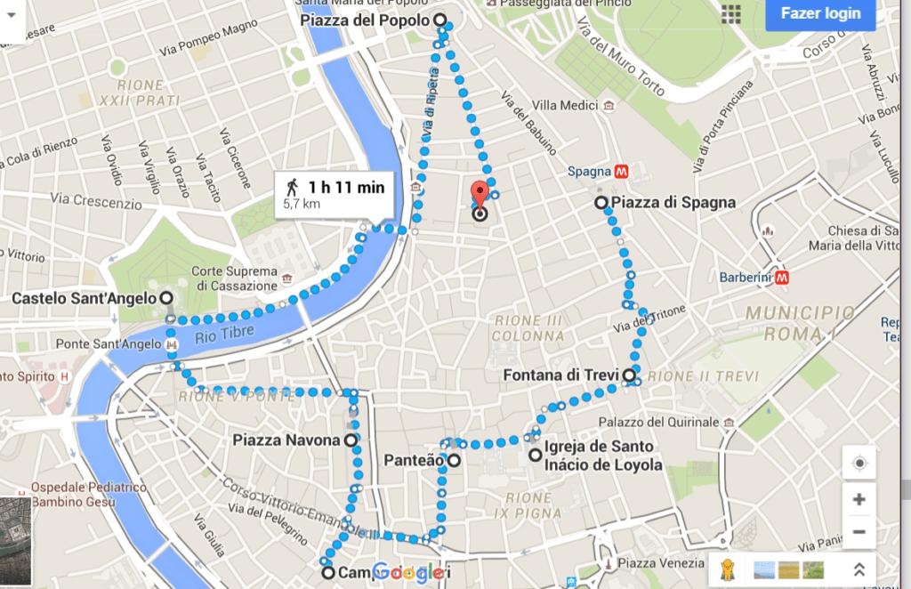Mapa da caminhada - Pontos Turísticos de Roma - O que fazer em 3 dias
