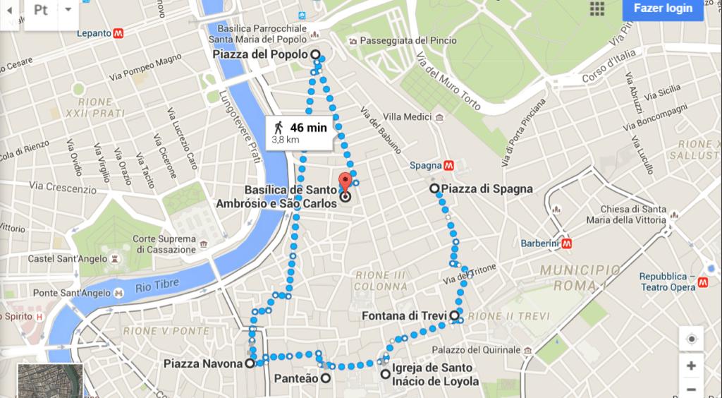 Percurso curto - Pontos Turísticos de Roma - O que fazer em 3 dias