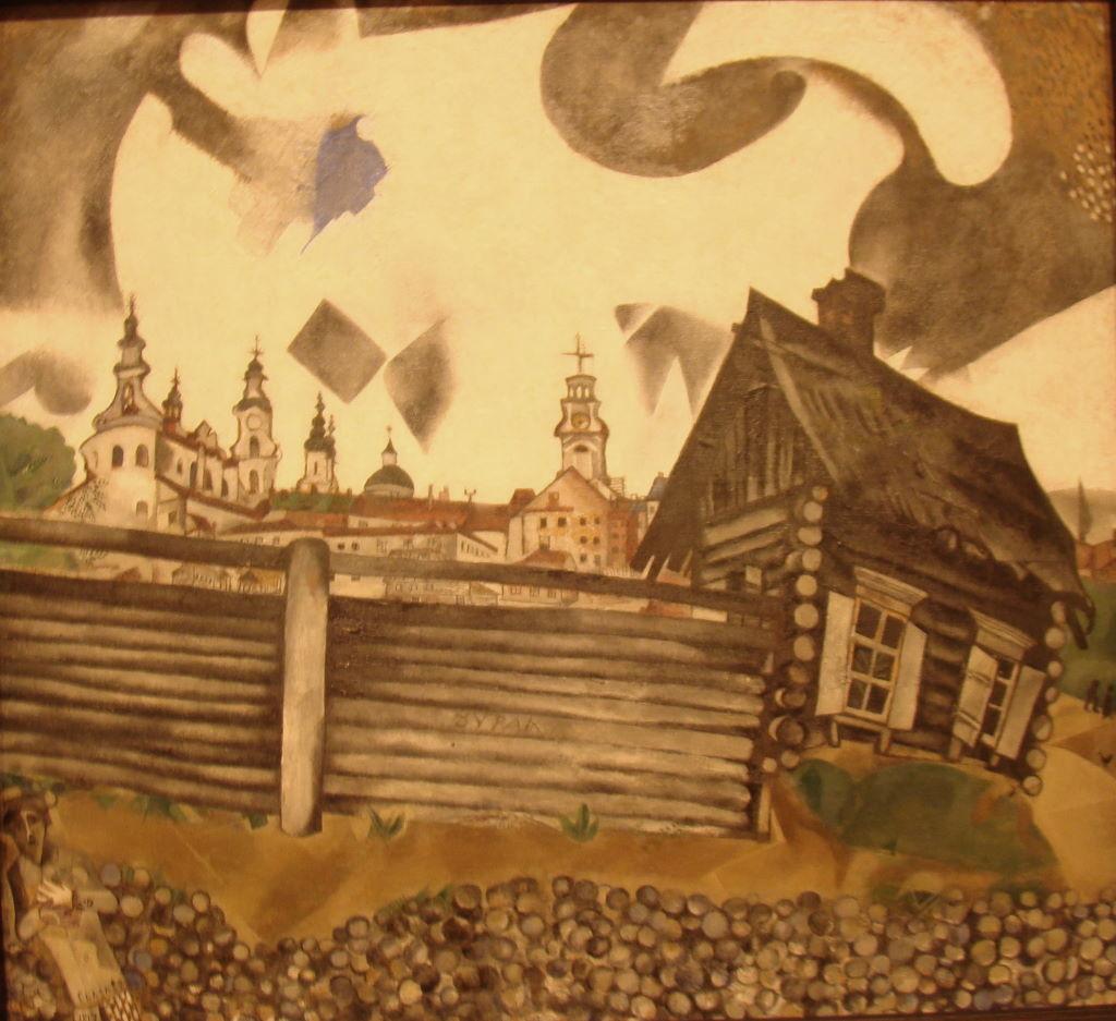 The House in Grey de Marc Chagall (1917) no Museu Thyssen-Bornemisza - Museus em Madrid: Prado, Thyssen e Reina Sofia