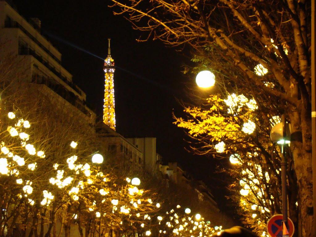 Torre Eiffel e árvores iluminadas