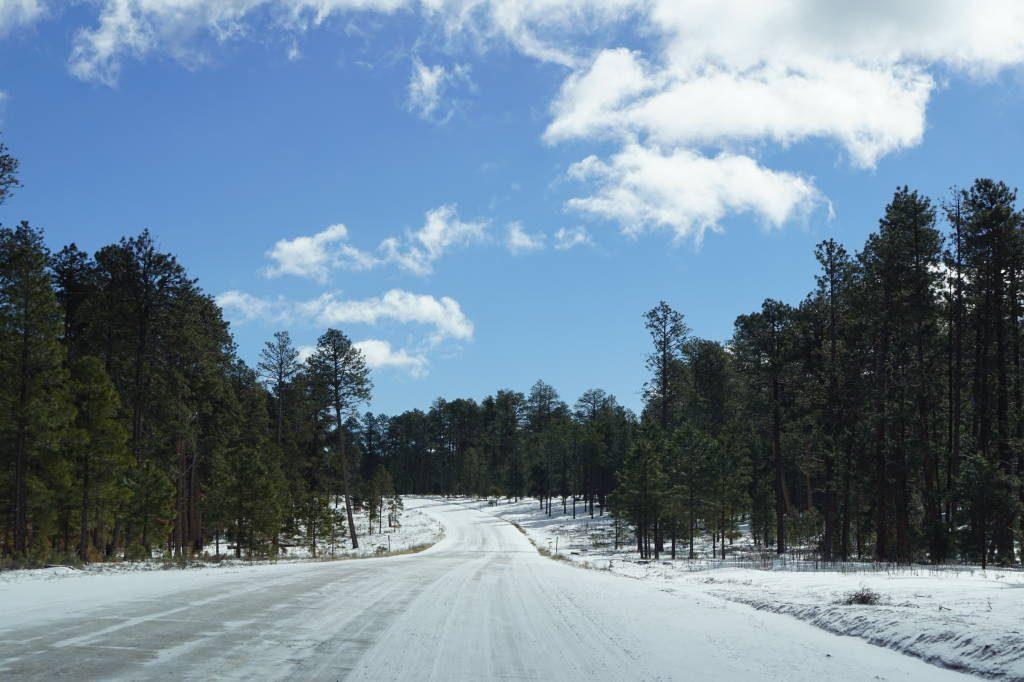 Estrada com neve