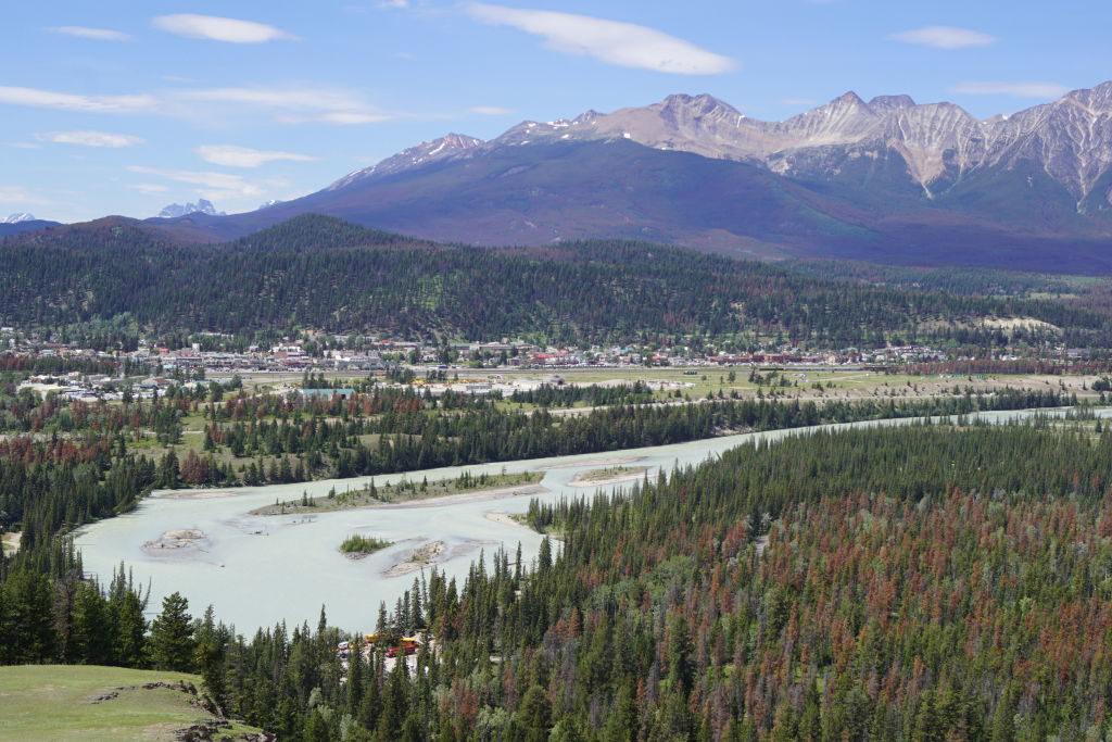 Rio Athabasca e cidade de Jasper vistos da Trilha Old Fort Point - O que fazer no Parque Nacional Jasper Canadá