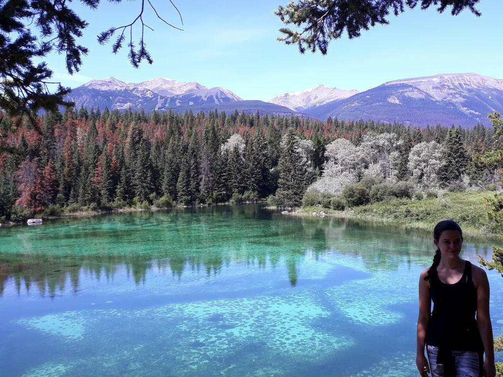 2º Lago na Trilha Vale dos 5 Lagos - O que fazer no Parque Nacional Jasper Canadá