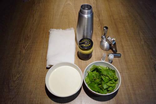 Ingredientes para o Chantilly de Manjericão feito com sifão