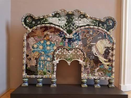 Frontão de lareira em mosaico - Palácio de Belas Artes